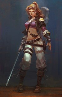 Аватар вконтакте Девушка в топике с мечом
