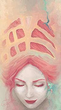 Аватар вконтакте Светловолосая девушка с закрытыми глазами, автор Natalia Grek