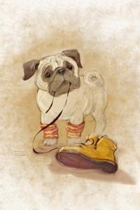 Аватар вконтакте Мопс держит в зубах шнурок ботинка, художник-иллюстратор Екатерина Бабок