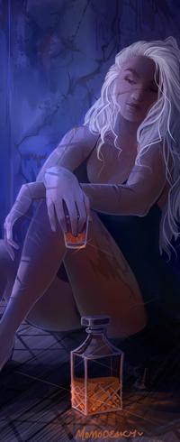 Аватар вконтакте Белокурая девушка в полумраке сидит на полу держа в руке стакан с напитком, by Momo-Deary