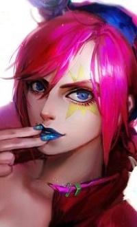 Аватар вконтакте Девушка с ярко-розовыми волосами держит пальцы у рта, by OrekiGenya