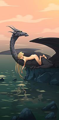Аватар вконтакте Обнаженная девушка лежит на драконе, автор Julia Buravlyova