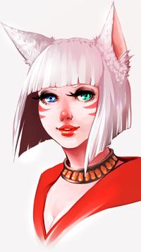 Аватар вконтакте Белокурая девушка с ушками и разноцветными глазами, by Momo-Deary