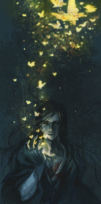 Аватар вконтакте Парень в крови, у которого над рукой порхают бабочки, by Athena-Erocith