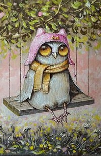 Аватар вконтакте Сова в шапочке и шарфе сидит на качели