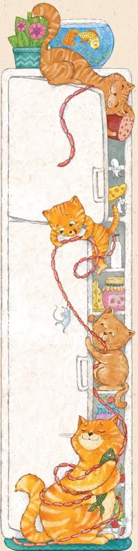 99px.ru аватар Котята тащат из холодильника сосиски и колбасу, а на полу сидит довольная кошка, иллюстратор sallolia (Салль Ольга)