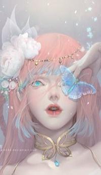 99px.ru аватар Девушка с бабочкой и цветами на волосах, by Dark134