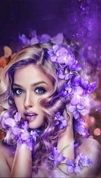 99px.ru аватар Портрет девушки с фиолетовыми цветами на волосах, by IgnisFatuusII