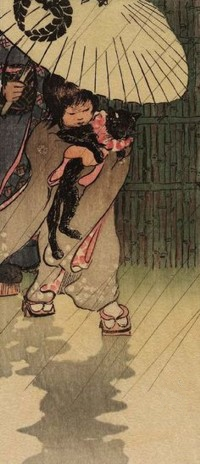 Аватар вконтакте Девушка, над которой держат раскрытый зонт, бережно несет кота, by Helen Hyde