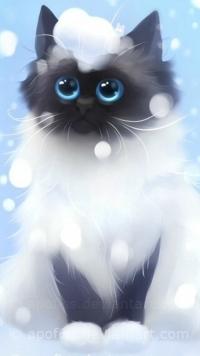 Аватар вконтакте Сиамский кот под падающим снегом, art by apofiss