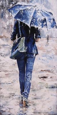 Аватар вконтакте Картина девушки под зонтиком в дождь, by Emerico Toth