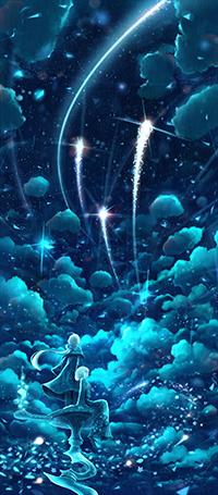 Аватар вконтакте Парень с девушкой смотрят на три звезды, падающие в небе