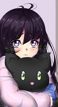 Аватар вконтакте Девушка обнимающая черного кота, автор AliceKuroCross