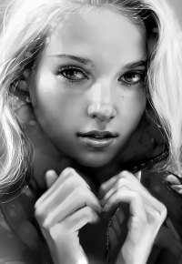 99px.ru аватар Черно-белый портрет светловолосой девушки