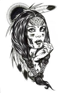 Аватар вконтакте Черно-белый эскиз девушки-индейца на белом фоне