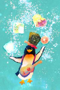 Аватар вконтакте Пингвинчик в цилиндре с гитарой жонглирует вкусняшками, by nao