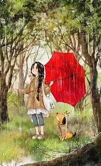 Аватар вконтакте Девочка с зонтом и собака под дождем
