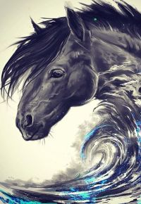 Аватар вконтакте Абстрактный рисунок коня с волной