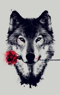 Аватар вконтакте Волк с розой в пасти на сером фоне
