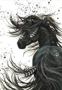 Аватар вконтакте Черный конь с перьями в гриве, хвосте и белым опечатком руки на бедре на белом фоне