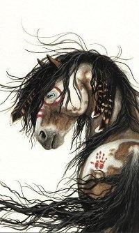 Аватар вконтакте Конь с отпечатком руки на бедре