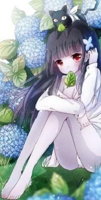 Аватар вконтакте Санка Рэя / Sanka Rea с котенком на голове из аниме «Санкарэя» / «Sankarea»