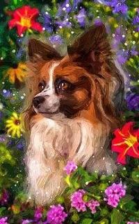 Аватар вконтакте Собачка в окружении цветов, by fromNeverlend