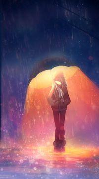 Аватар вконтакте Девушка с зонтом, который светится, стоит под дождем