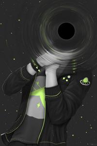Аватар вконтакте Парень с черной дырой в области головы пытается себя удушить