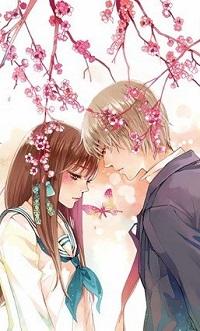 Аватар вконтакте Девушка с парнем стоят под цветущей сакурой