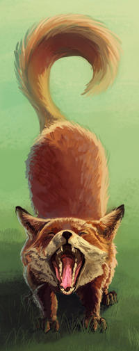 99px.ru аватар Зевающая лисичка на зеленой траве, by Tyfflie
