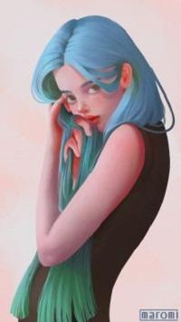 99px.ru аватар Девушка с длинными голубыми волосами