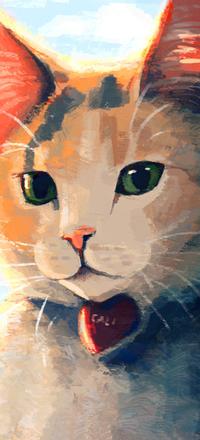 Аватар вконтакте Рыжа-белая кошечка с зелеными глазами и сердечком на шее, by Meorow