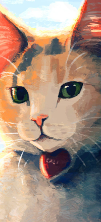 99px.ru аватар Рыжа-белая кошечка с зелеными глазами и сердечком на шее, by Meorow