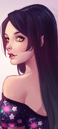 Аватар вконтакте Темноволосая девушка эльфийка с янтарными глазами, by Wernope