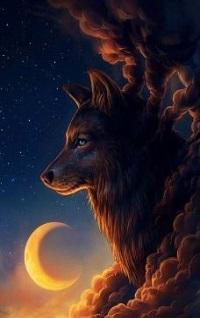 Аватар вконтакте Волк в облаках на фоне месяца, by JoJoesArt