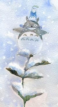 Аватар вконтакте Тоторо / Totoro со спутниками сидят на заснеженной ветке, иллюстратор Татьяна Булгакова