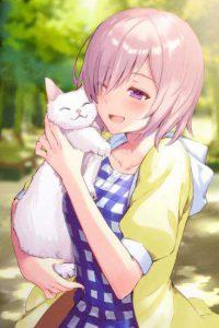 Аватар вконтакте Мэш Кириелайт / Mash Kyrielight из аниме Судьба / Великий приказ / Fate / Grand Order: First Order с белой кошкой на руках