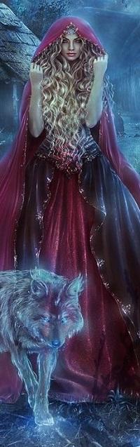Аватар вконтакте Девушка в образе Красной шапочки стоит перед сказочным волком