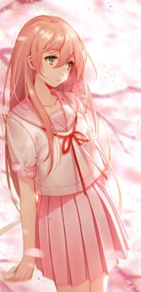 Аватар вконтакте Девушка с розовыми волосами в школьной форме на фоне веток дерева