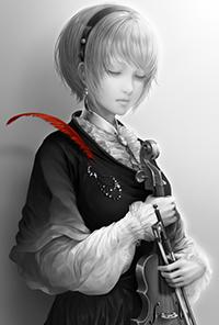 Аватар вконтакте Девушка со скрипкой и красным пером