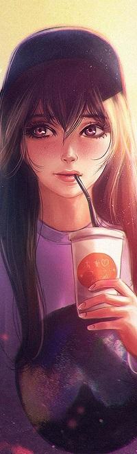 Аватар вконтакте Девушка с о стаканчиком и соломинкой во рту, by Axsens