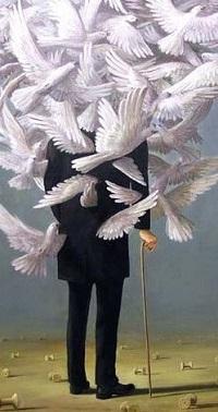 Аватар вконтакте Мужчина в костюме с палочкой в окружении голубей. Немецкий сюрреалист Вольфганг Леттл
