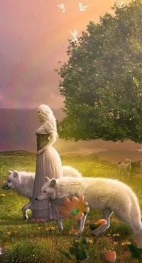 Аватар вконтакте Девушка с белыми волками стоит на траве, by JayGraphixx