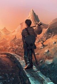 Аватар вконтакте Парень уходящий в даль с узелком и гитарой на спине, художник AquaSixio