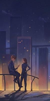 Аватар вконтакте Парень с девушкой на фоне города