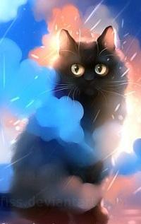 Аватар вконтакте Черный кот под дождем, by Apofiss
