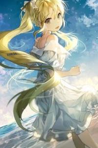 Аватар вконтакте Девушка с длинными волосами стоит на фоне облачного неба