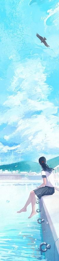 Аватар вконтакте Девушка сидит на набережной, свесив ножки над водой