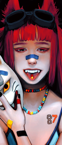 Аватар вконтакте Девушка лисичка с таблеткой на языке, by ratskeleton